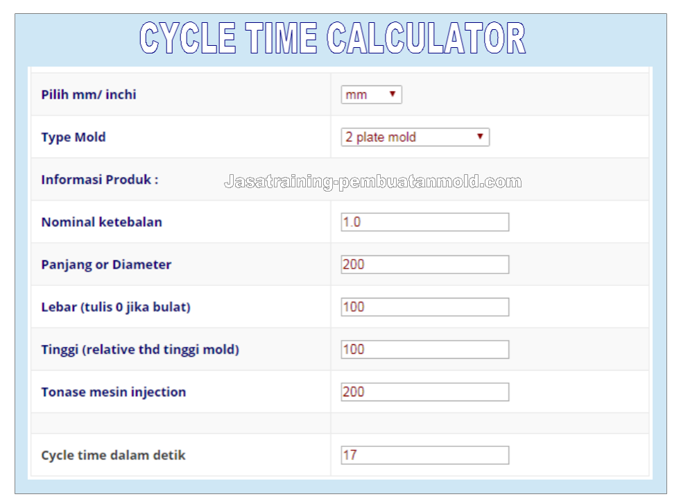 Cycle Time Calculator