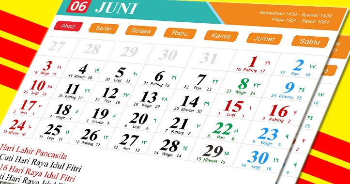Desain Kalender Tahun 2018 Lengkap Jawa, Hijriyah Dan ...