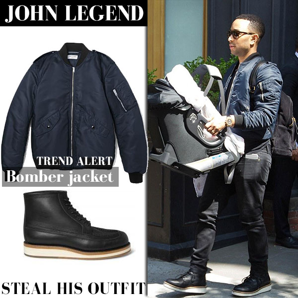 John Legend in blue satin bomber jacket from Saint Laurent streetstyle casual style