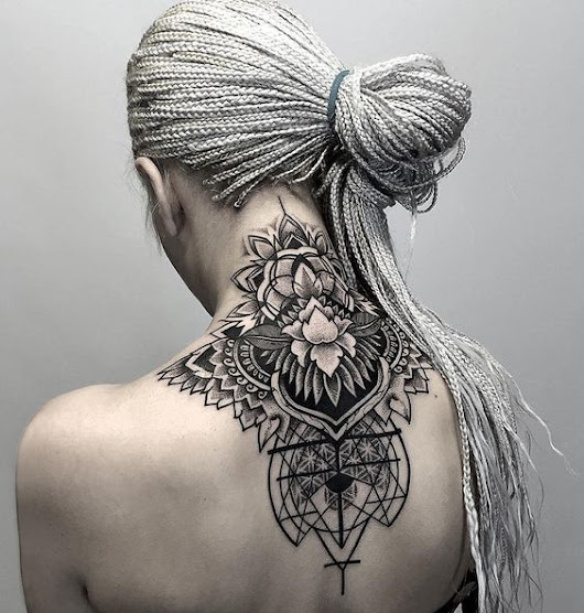 Geometric And Floral Neck Tattoo
