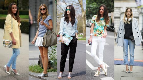 looks com sapatos metalizados
