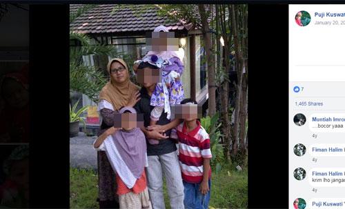 Ini salah satu foto yang berhasil saya ambil dari akun Facebook Puji Kuswati pada tanggal 16 Mei 2018 pukul 22.07 WIB dan saya sendiri yang memblurkan wajah ke empat anak anaknya demi alasan keamanan dan privacy. Foto AKun FB Puji Kuswati