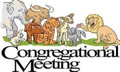 cartoon of a variety of animals in a meeting above the words Congregational Meeting