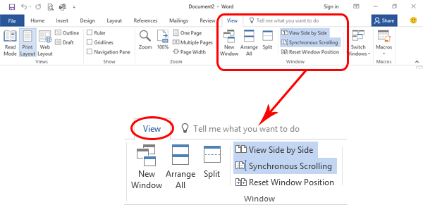 Compare Side by Side in Office 2016