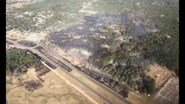 vista aérea del incendio en valeria del mar