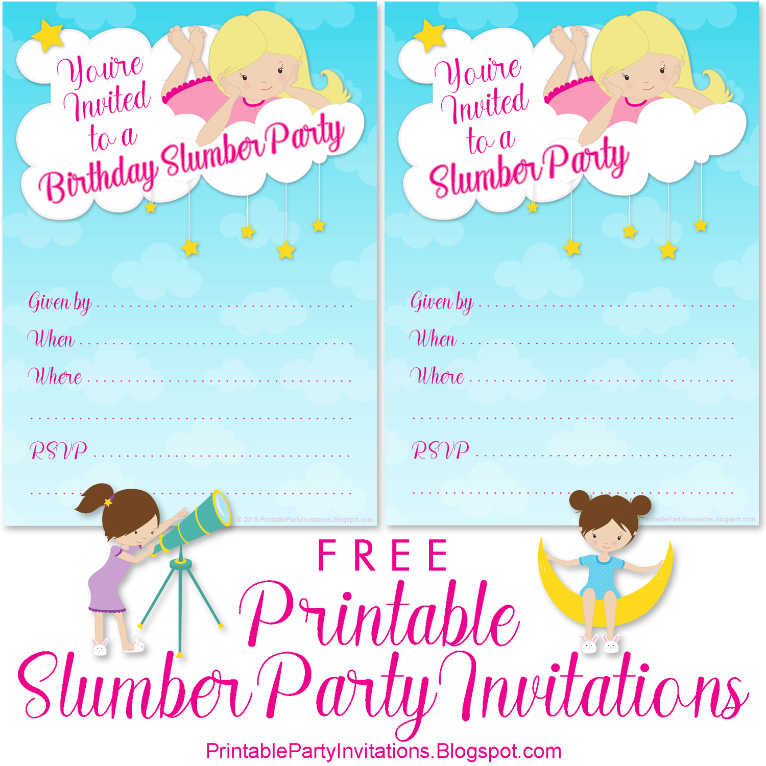 Slumber Party Invitations | Free Printable Party Invitations