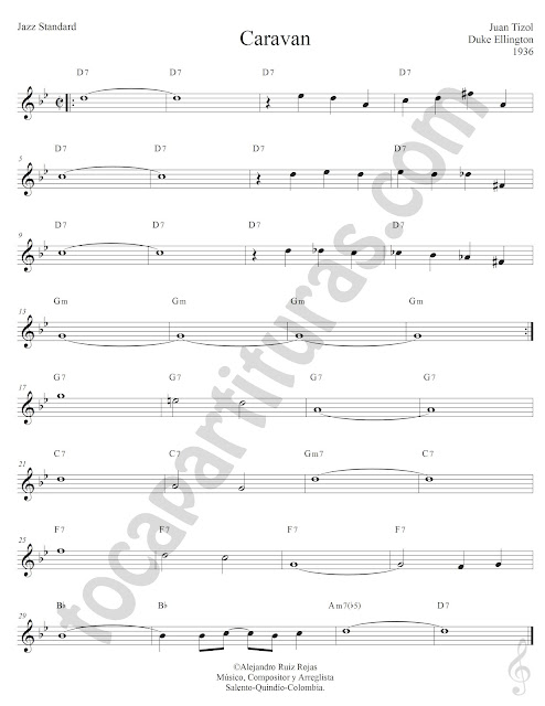 Caravan de Juan Tizol y Duke Ellington Partiura Fácil con Acordes Caravan Easy Sheet Music with Chords