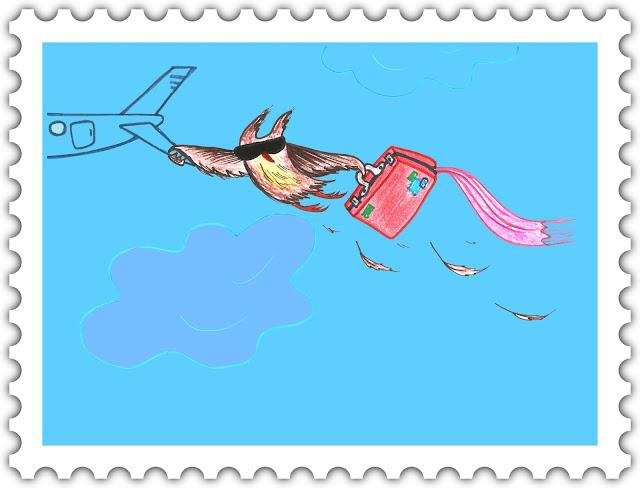 Красивые открытки бесплатно для вас, Beautiful postcards are free for you, p_i_r_a_n_y_a Сова Ульяна полетела в отпуск (голубой фон)