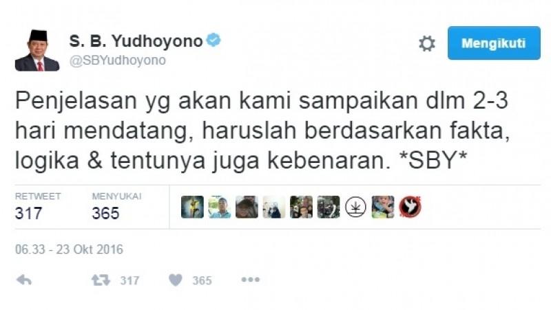 Kicauan SBY soal data TPF Munir