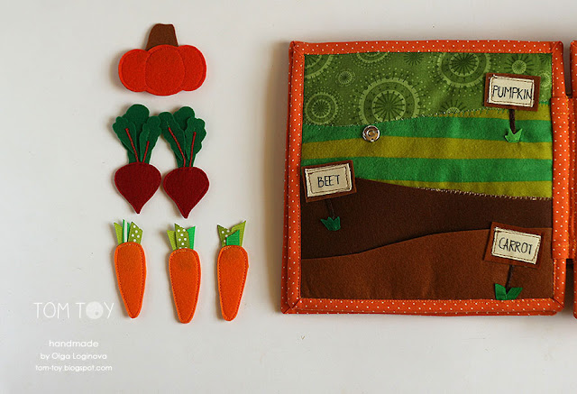 Handmade cloth quiet busy book for Sergio, vegetables garden, развивающая книжка