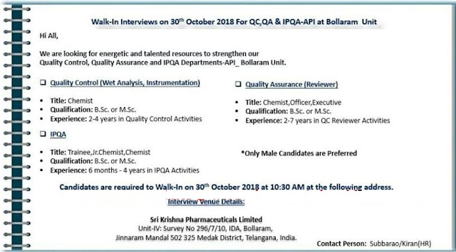 Sri Krishna Pharmaceuticals Ltd Walk-In Interview For Quality Control, Quality Assurance, IPQA at 30 October