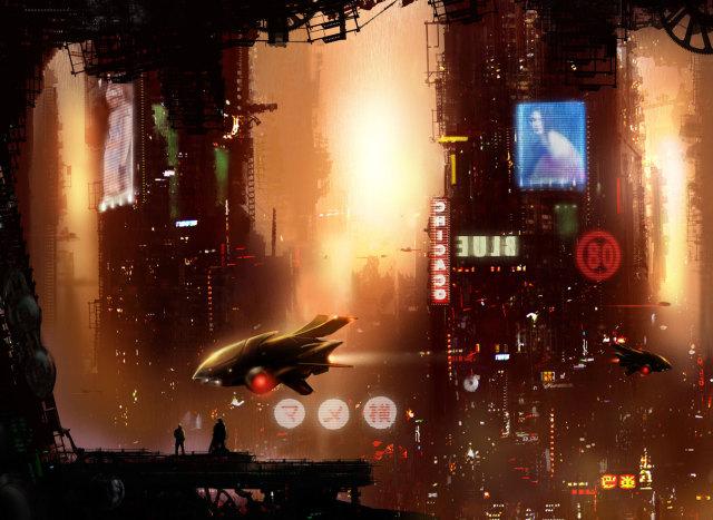 Cidade estilo Blade Runner
