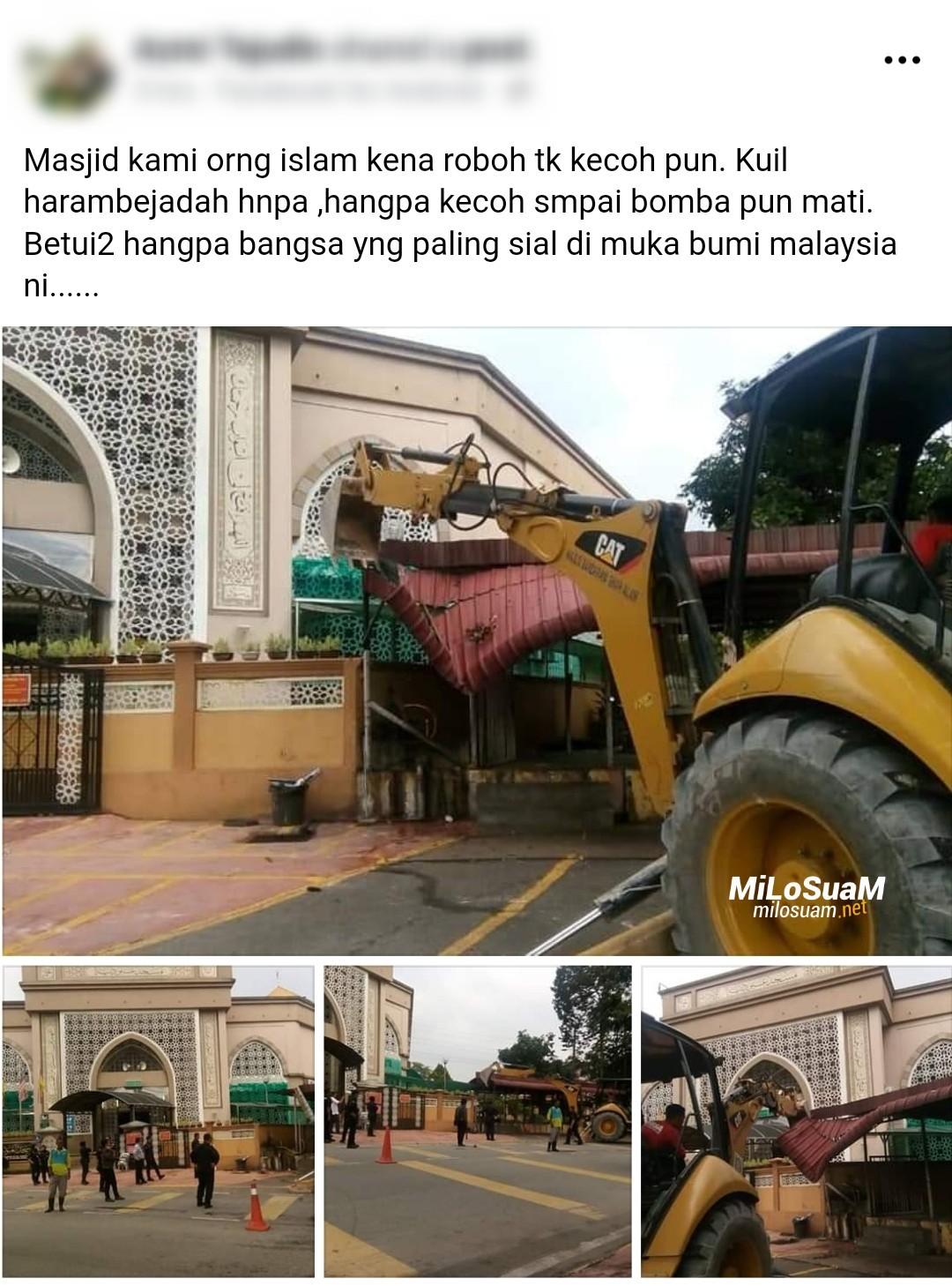 Binaan haram dekat masjid kena roboh