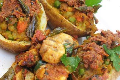 Samosa-Style Stuffed Baked Potatoes