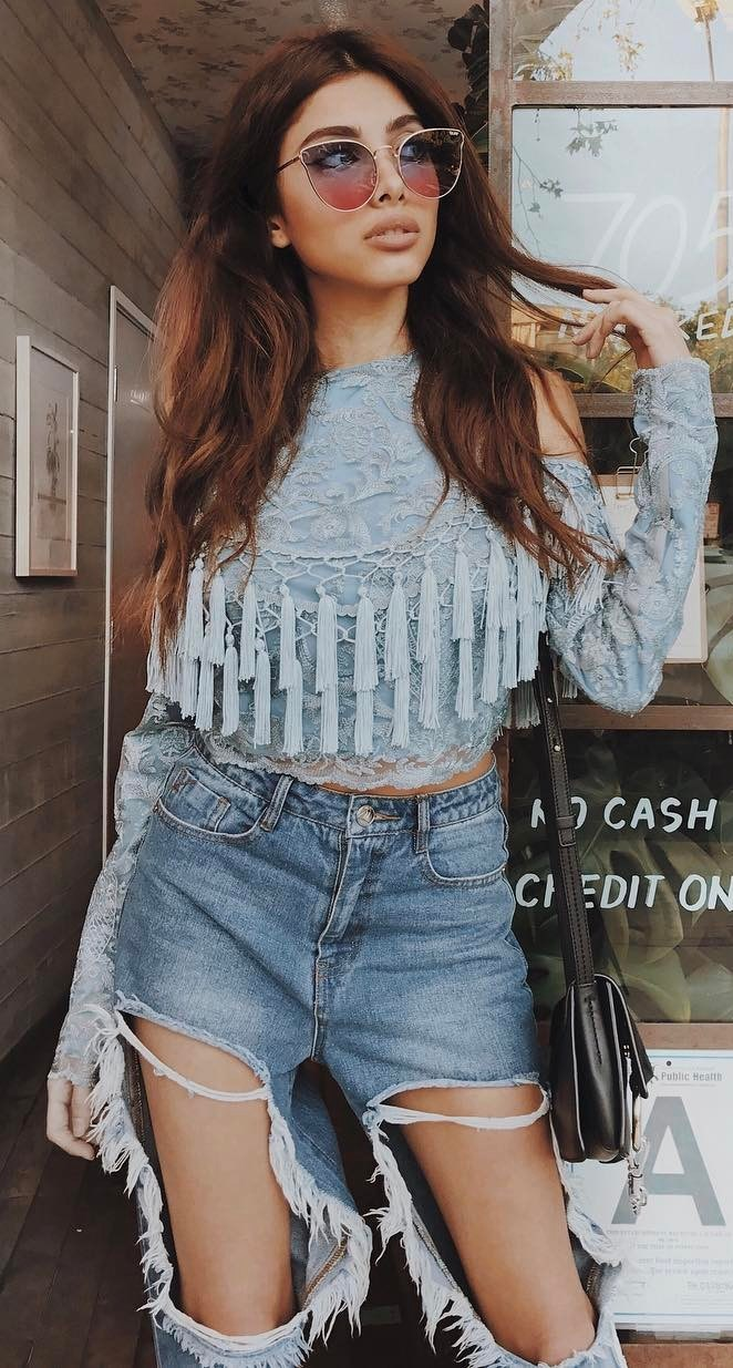 amazing outfit: lacer top + ripped jeans