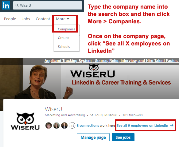 Using LinkedIn to find the hiring manager