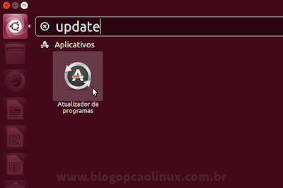 "Pesquise por ""update"" na Dash do Ubuntu"