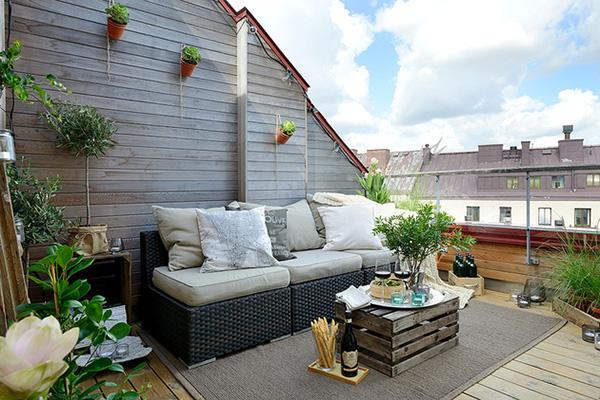 décoration style scandinave bois tapis d'extérieur Suède