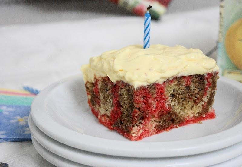 Neapolitan Sheet Cake Aka My Birthday Cake The Kitchen Is
