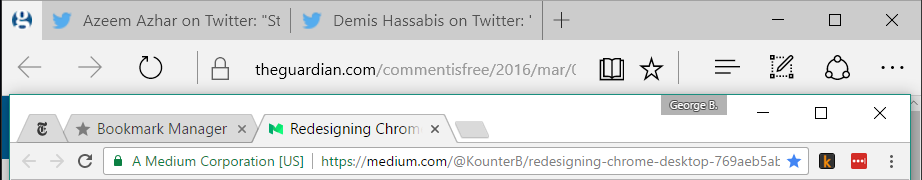 Edge and Chrome toolbars on Windows 10