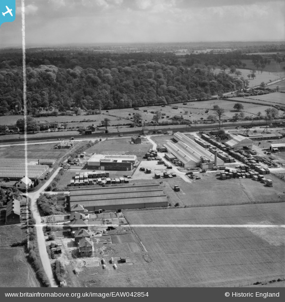 Photograph of The Dottridge Brothers Ltd Coffin Factory at Marshmoor and environs, Welham Green, from the south-west, 1952.  This image was marked by Aerofilms Ltd for photo editing. Original Britain From Above caption