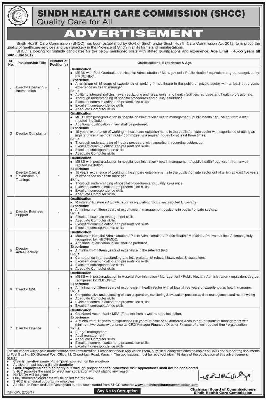 SHCC Jobs In Sindh Health Care Commission  22 May 2017