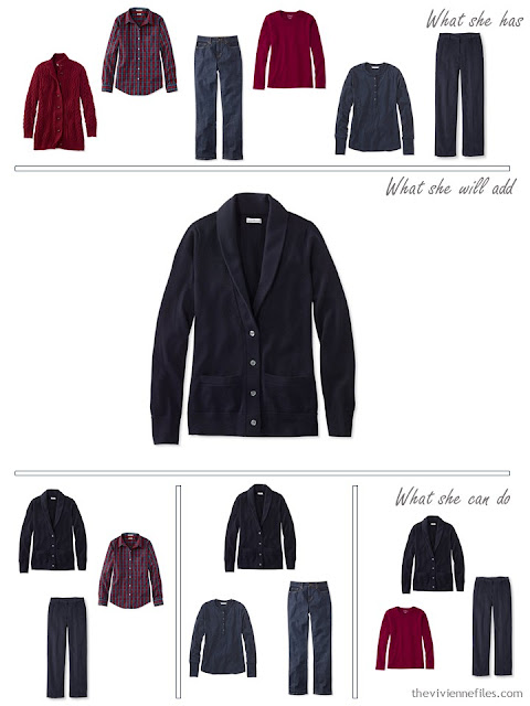 adding a navy cardigan to a capsule wardrobe in red and navy, for cool weather