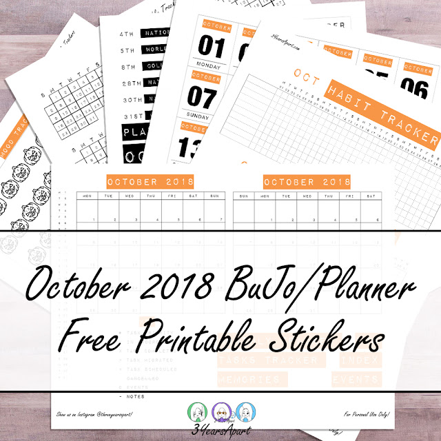 6 sheets of October 2018 Bullet Journal / Planner Free printable stickers on a wood backdrop