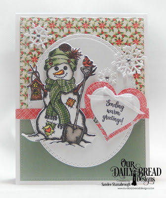 Our Daily Bread Designs Stamp/Die Duos: White as Snow, Custom Dies: Oval Stitched Rows, Layering Hearts, Snow Crystals, Pierced Rectangles, Paper Collections: Holly Jolly, Christmas 2017