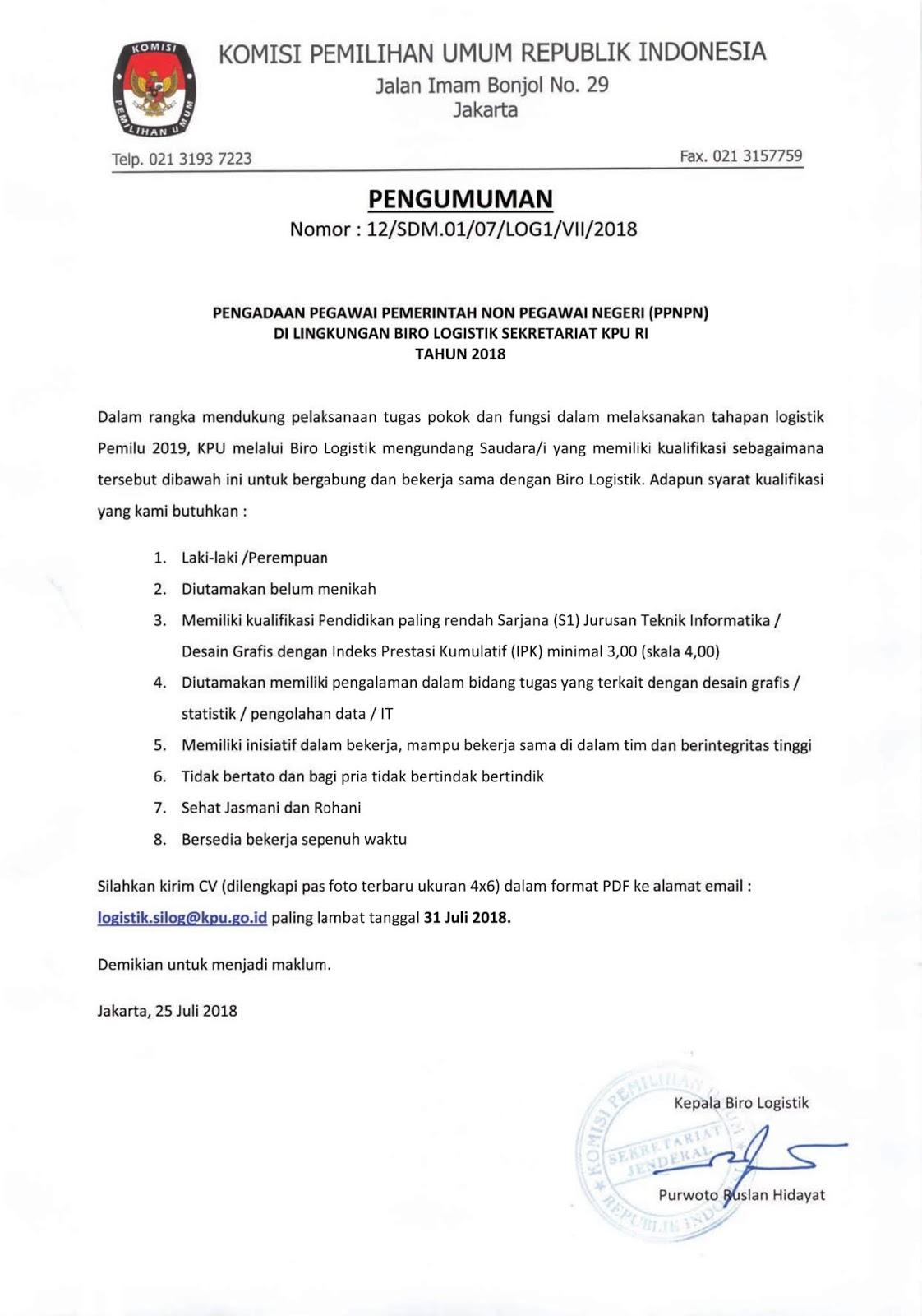 Penerimaan Pegawai PPNPN Komisi Pemilihan Umum Republik Indonesia