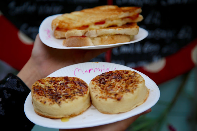 cheese toastie and marmite on crumpets, the tea garden, womad