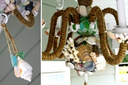 Shell and Rope Chandelier DIY