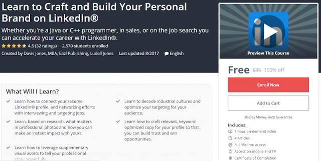 [100% Off] Learn to Craft and Build Your Personal Brand on LinkedIn®|Worth 35$