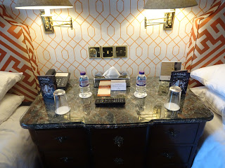 bedside water on marble side table