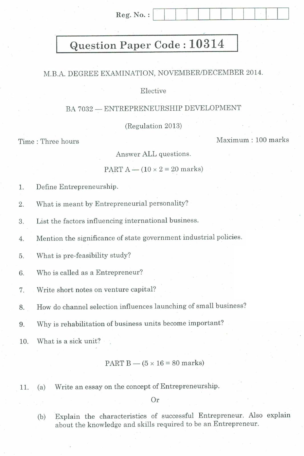 BA7032 - ENTREPRENEURSHIP DEVELOPMENT 2014 Question Paer