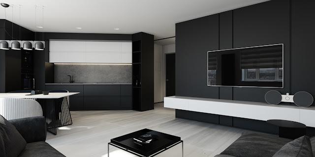 минимализм в гостинной в черных и белохых тонах