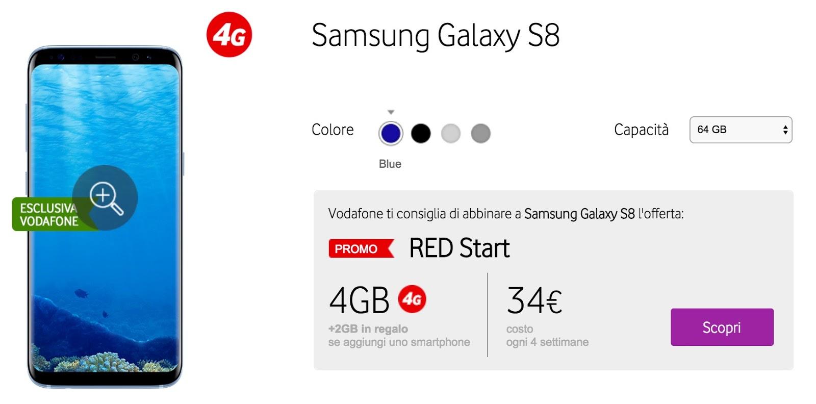 Prezzo Samsung S8 in abbonamento con Vodafone