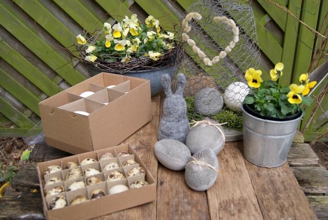 Betoneier, Drahtglocke und Hornveilchen für Gartendekoration