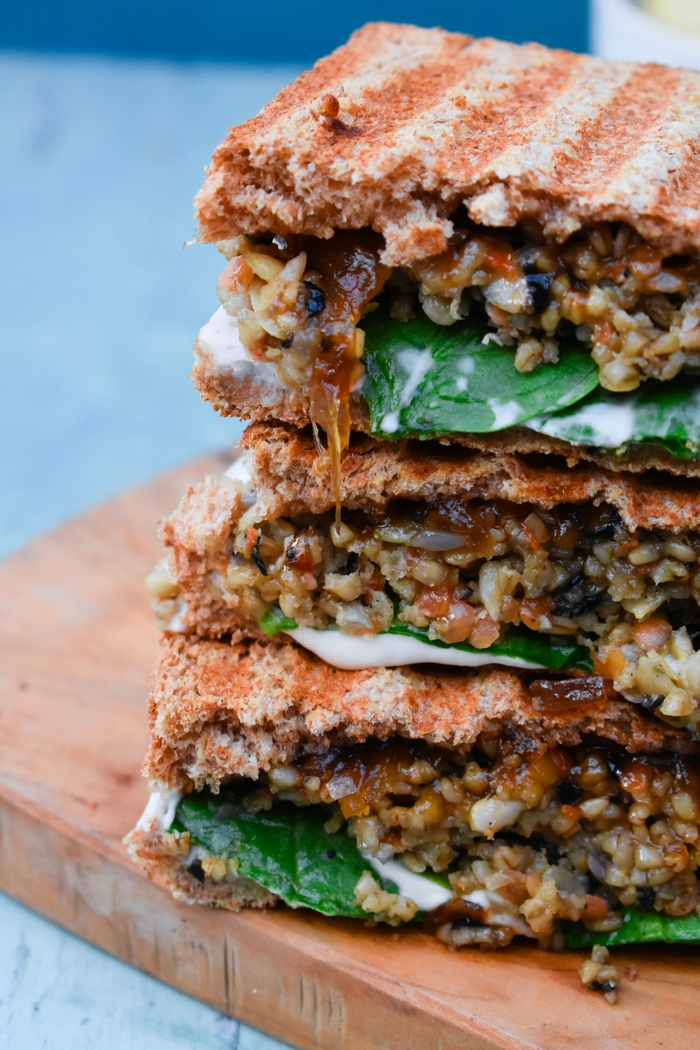 Close up of Veggie Haggis and Onion Chutney Toasties