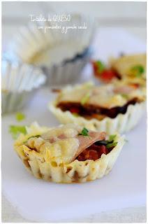 Tartaleta salada de queso con pisto y jamón cocido- cocina con tu peque