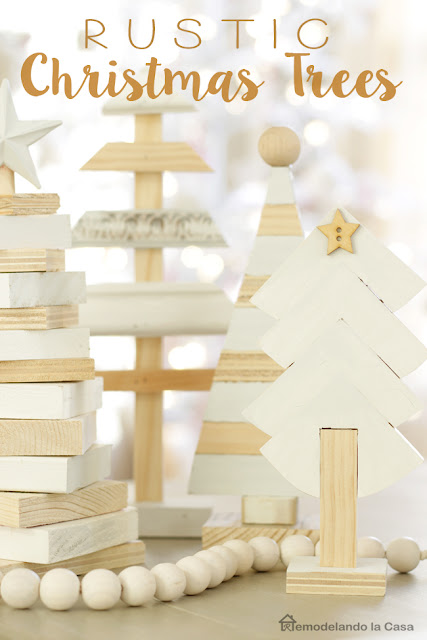 wooden rustic trees with a primitive white and wood tone.