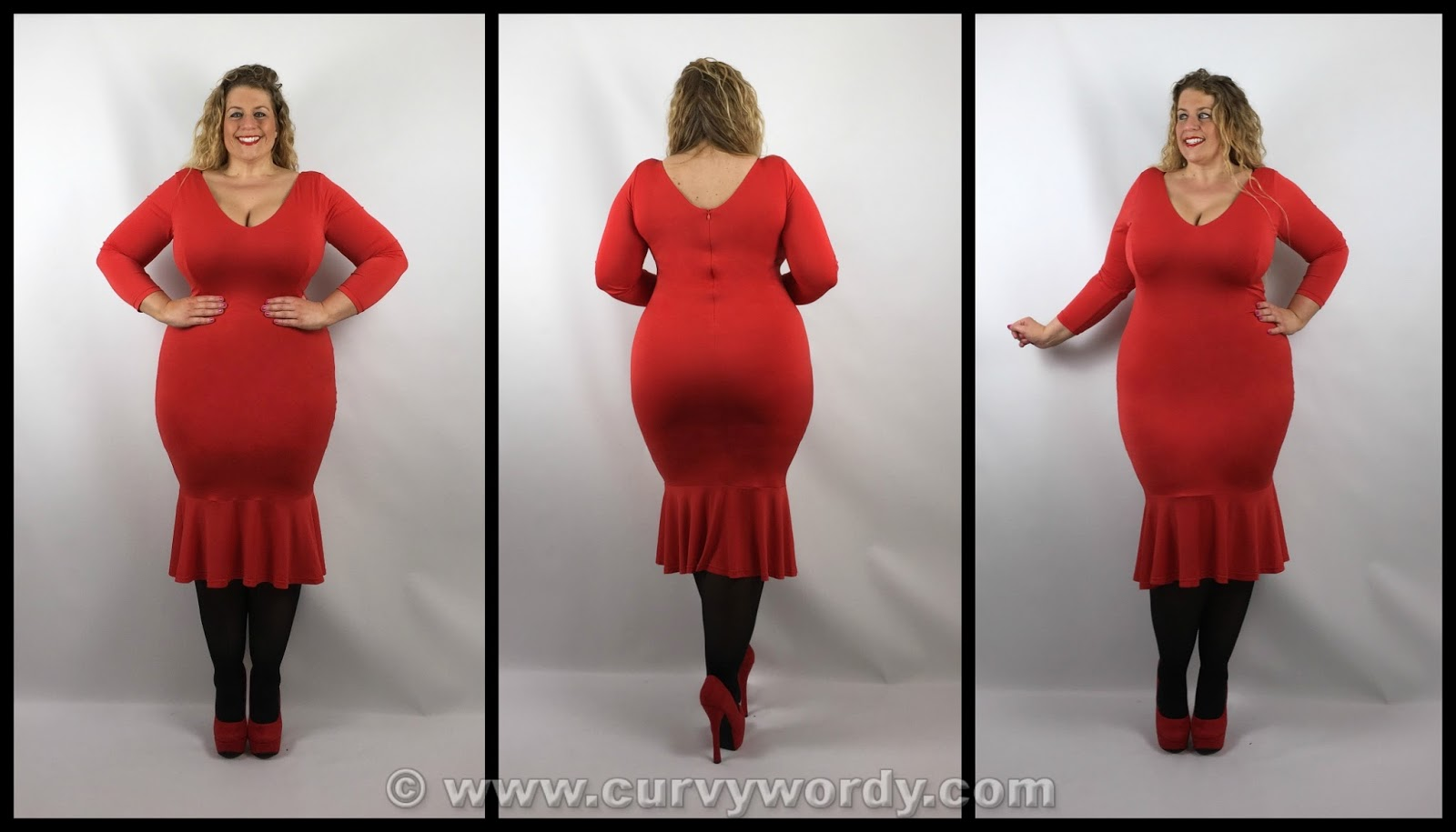 bcb19a51ea86b I tried the Red Bellatrix dress (£45, UK sizes 16-32) first of all: