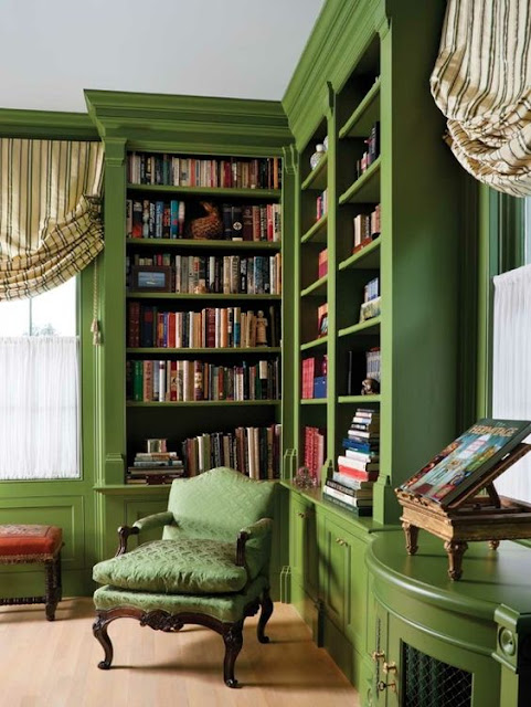Library with green walls and Green Shelves