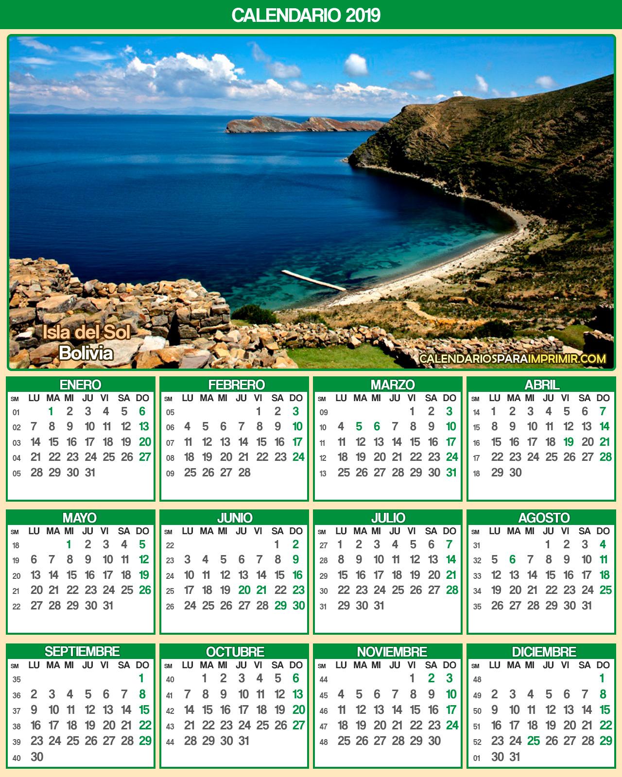 calendario bolivia 2019