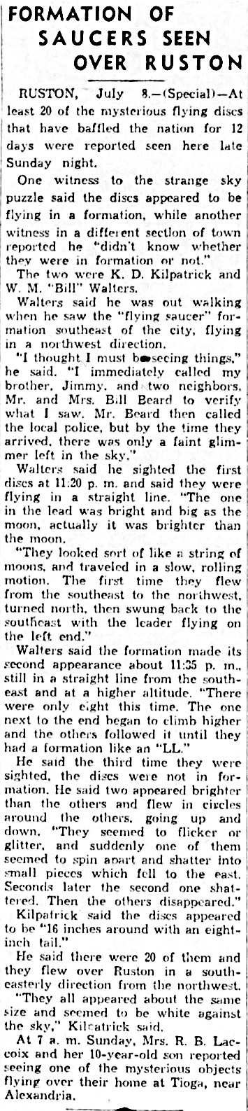 Formation of Saucers Seen Over Ruston - The Monroe News-Star (Monroe, Louisiana) 7-8-1947