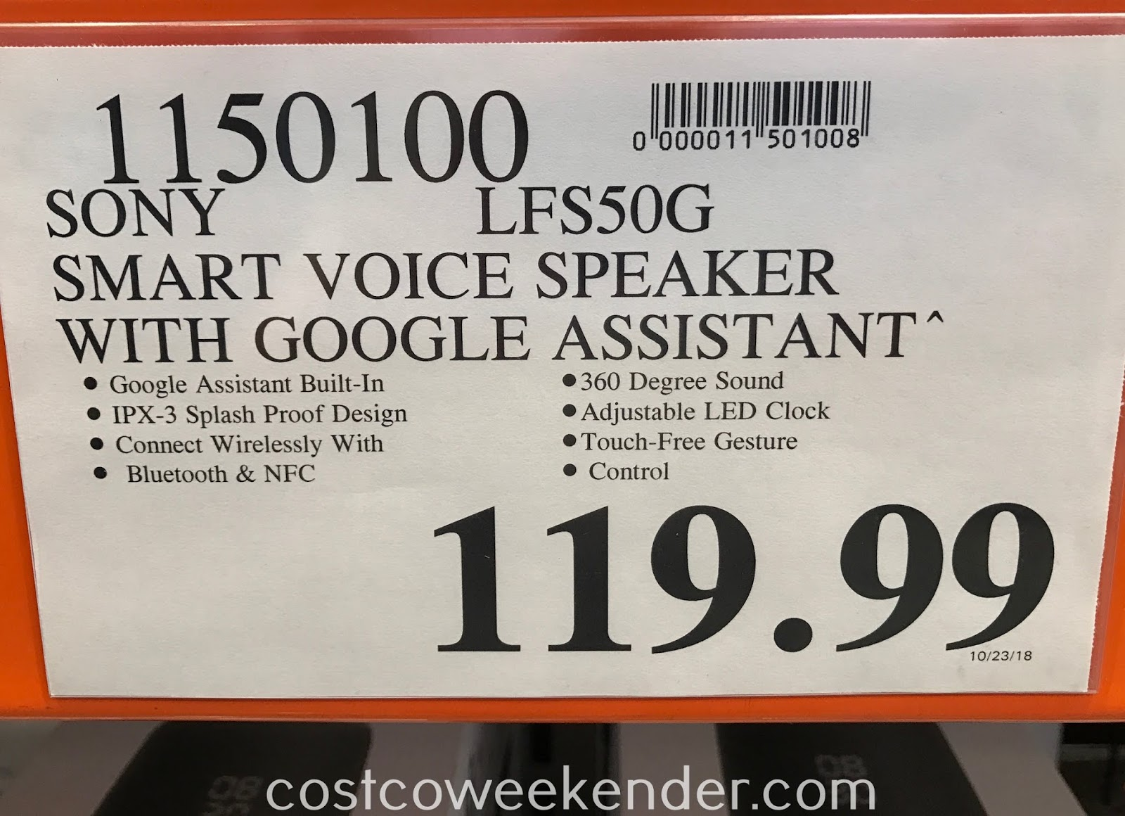 Deal for the Sony Smart Voice Wireless Speaker LF-S50G at Costco