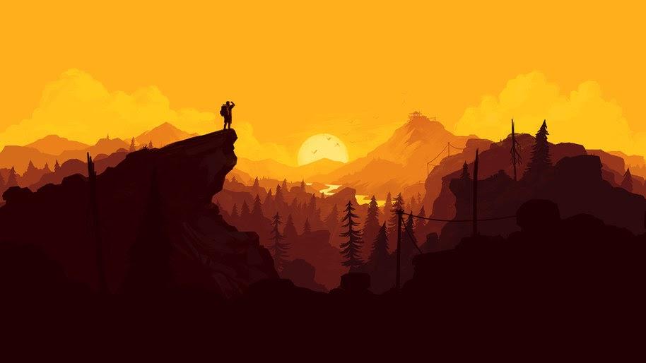 Hiking, Nature, Minimalist, Digital Art, Sunset, Landscape, 4K, #18
