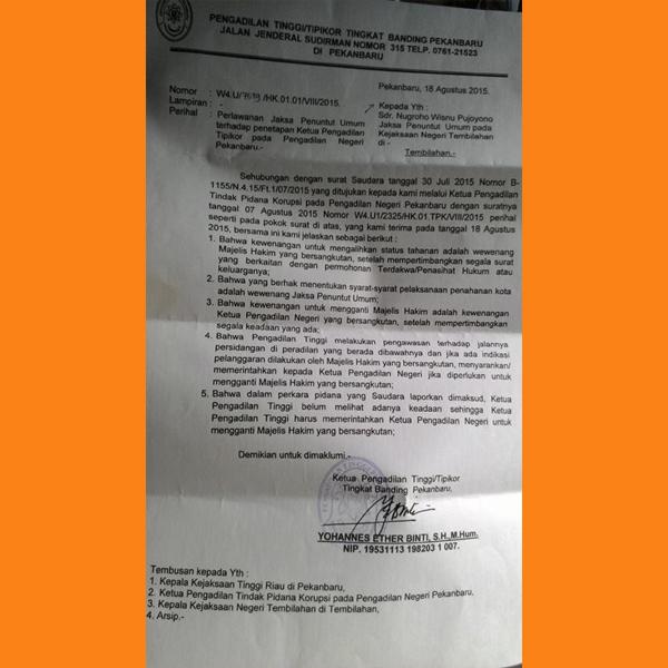 Saripek Kembali Wajib Lapor, Pengadilan Tipikor Pekanbaru
