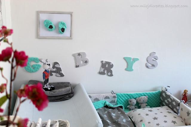 Pokój dla dziecka z sypialnią rodziców. Biały, szary i mięta. Jak urządzić pokoik dla dziecka. Malutki pokoik dla dziecka. Oklejanie mebli okleiną. DIY Bedroom