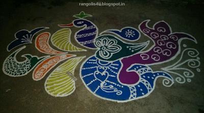 Multidesign Peacock Rangolis
